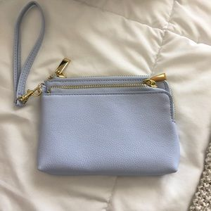 NWOT Blue Double Zipper Wristlet